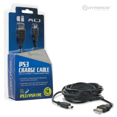 PS3/MISC: USB CHARGE N PLAY CABLE - 10FT - MINI USB FOR PS3 (NEW)